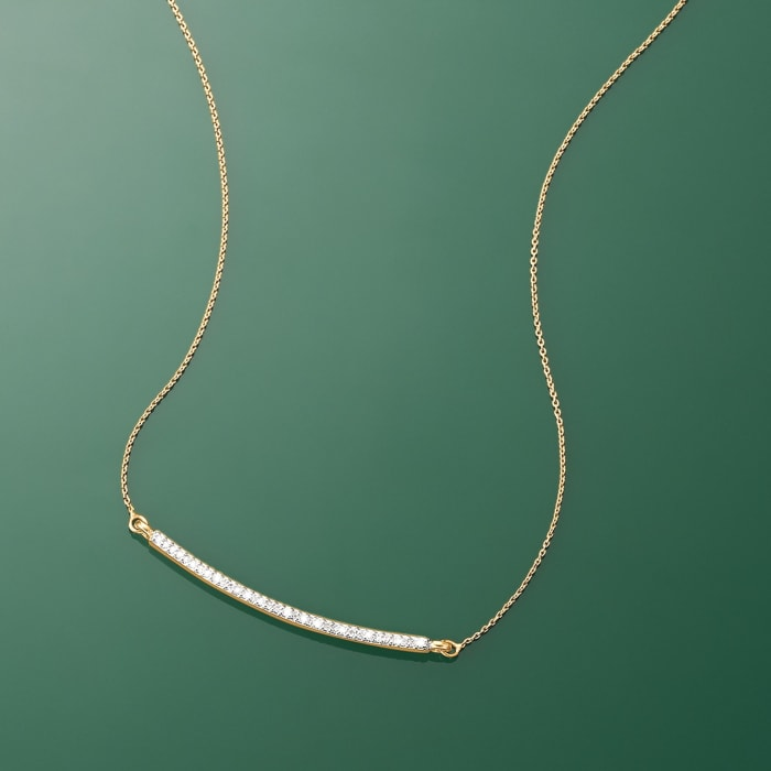 .10 ct. t.w. Diamond Curved Bar Necklace in 14kt Yellow Gold