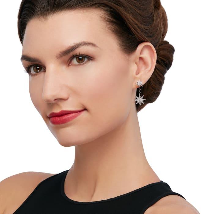 .50 ct. t.w. Diamond Starburst Drop Earrings in Sterling Silver
