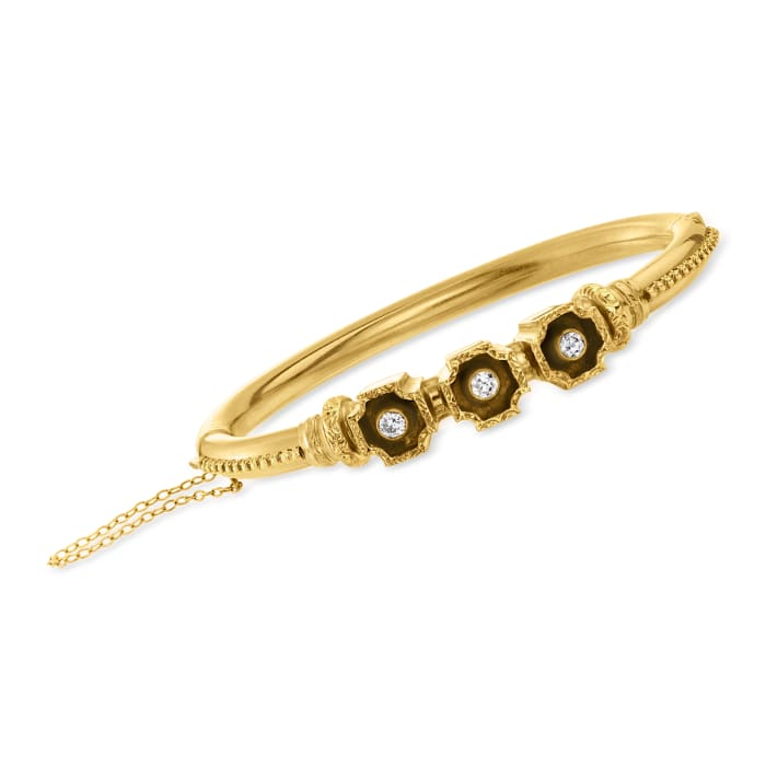 C. 1950 Vintage .35 ct. t.w. Diamond Bangle Bracelet in 14kt Yellow Gold