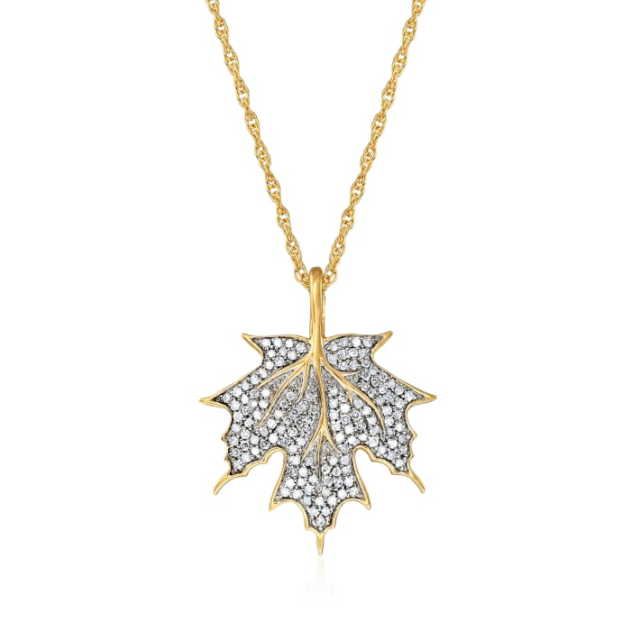 .25 ct. t.w. Diamond Maple Leaf Pendant Necklace in 18kt Gold Over Sterling