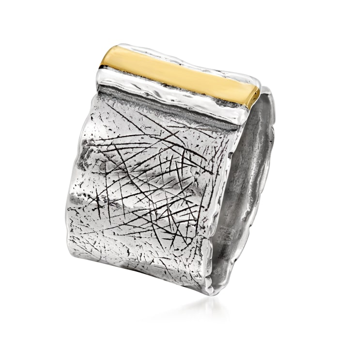 Sterling Silver with 14kt Yellow Gold Wide Ring