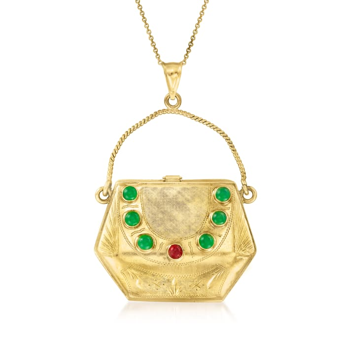 C. 1980 Vintage Red and Green Glass Purse Pendant Necklace in 18kt Yellow Gold