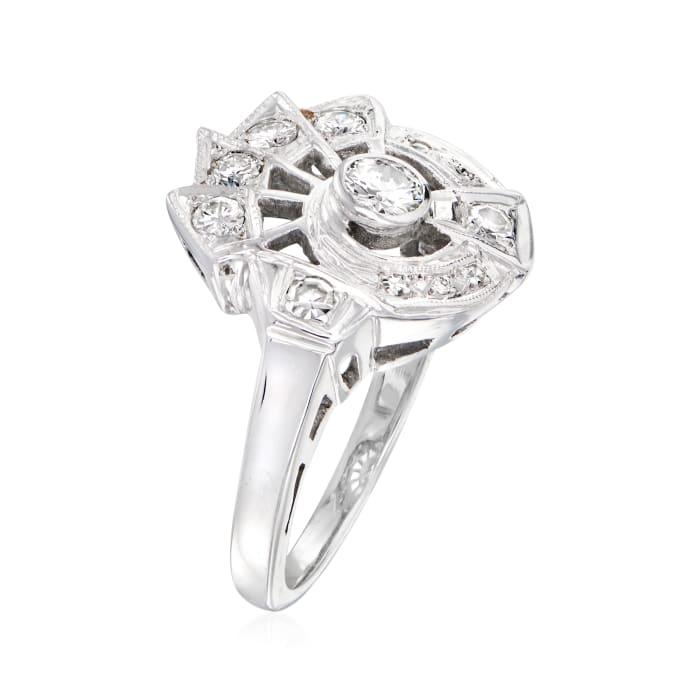 C. 1950 Vintage .50 ct. t.w. Diamond Spiral Ring in 14kt White Gold