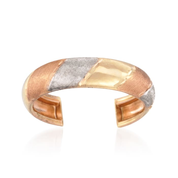 14kt Tri-Colored Gold Striped Toe Ring