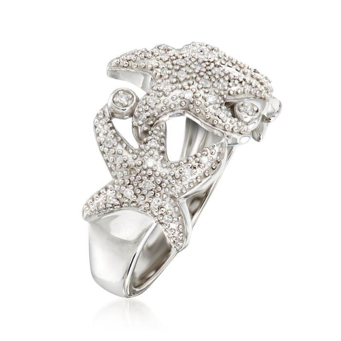 .15 ct. t.w. Diamond Starfish Ring in Sterling Silver