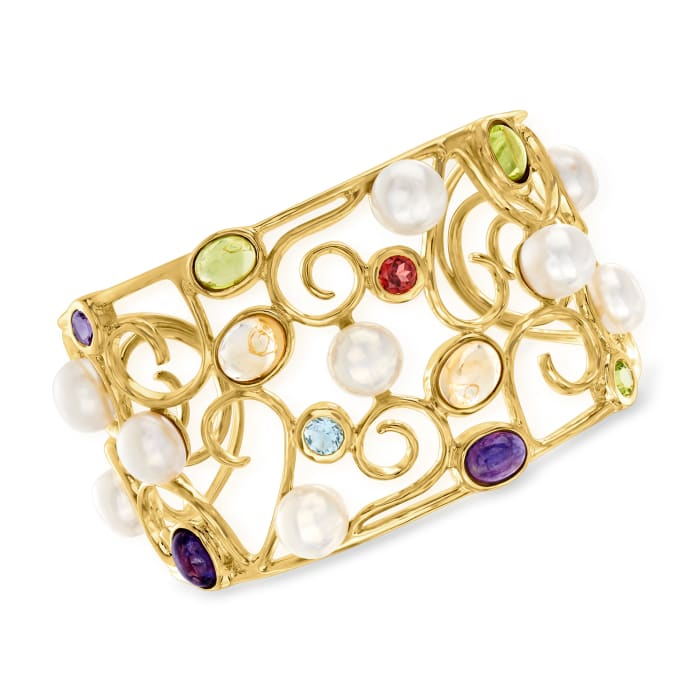 9mm Cultured Pearl and 13.60 ct. t.w. Multi-Gem Swirl Cuff Bracelet in 18kt Gold Over Sterling
