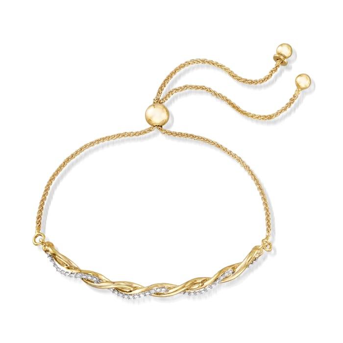 .25 ct. t.w. Diamond Twist Bolo Bracelet in 18kt Gold Over Sterling