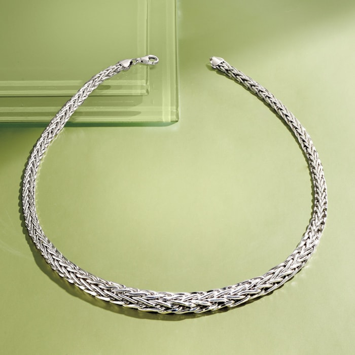 Sterling Silver Graduated Wheat-Link Necklace