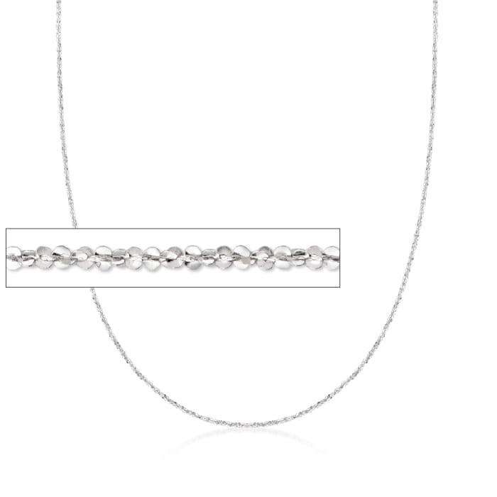 Italian 1mm 14kt White Gold Crisscross Chain Necklace