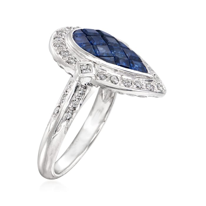C. 1990 Vintage 2.32 ct. t.w. Sapphire and .51 ct. t.w. Diamond Pear-Shaped Ring in Platinum