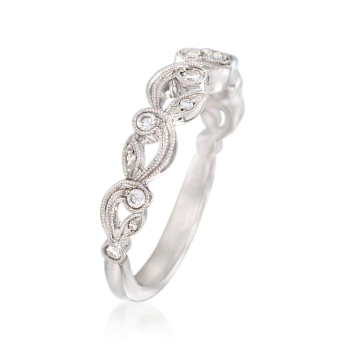 Simon G. .15 ct. t.w. Diamond Scroll Wedding Ring in 18kt White Gold
