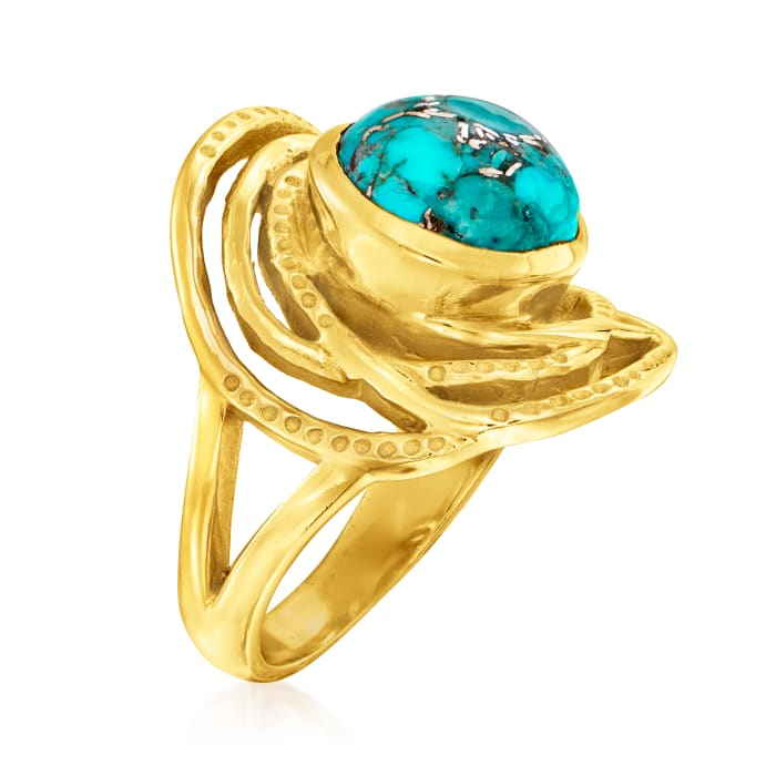 Turquoise Openwork Ring in 18kt Gold Over Sterling