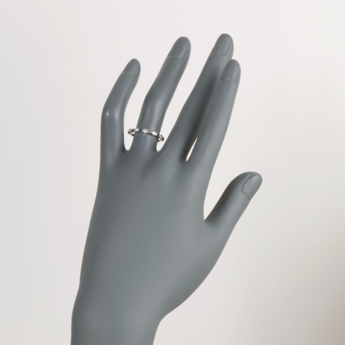 Henri Daussi .20 ct. t.w. Black and White Diamond Wedding Ring in 18kt White Gold
