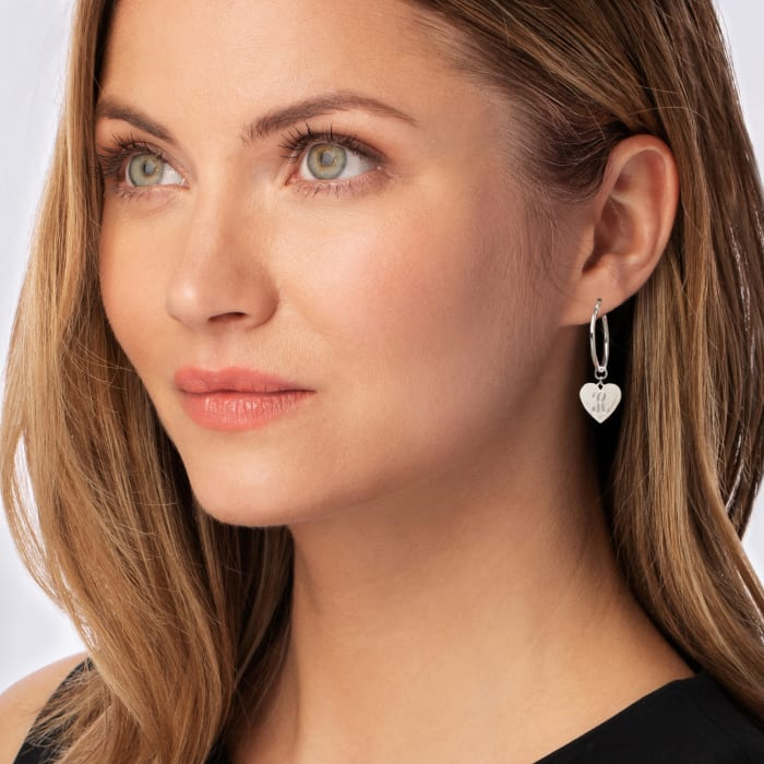 Sterling Silver Single-Initial Heart Charm Hoop Earrings