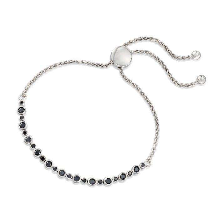 1.00 ct. t.w. Bezel-Set Black Diamond Bolo Bracelet in Sterling Silver