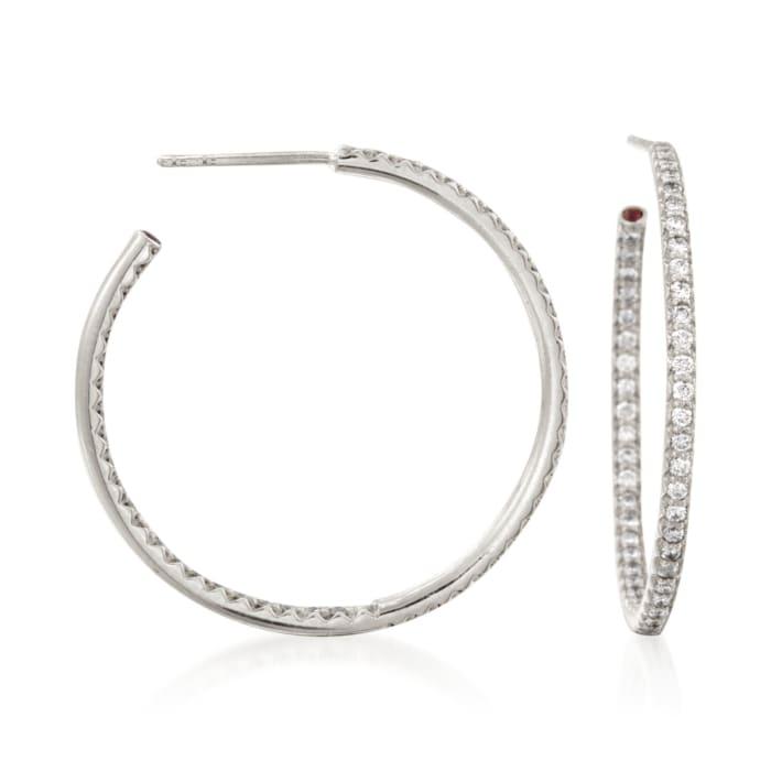 Roberto Coin .68 ct. t.w. Diamond Inside-Outside Hoop Earrings in 18kt White Gold