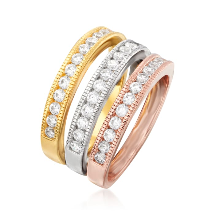 1.00 ct. t.w. CZ Jewelry Set: Three Rings in Rose and Yellow 18kt Gold Over Sterling and Sterling Silver