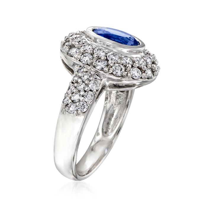 1.50 Carat Sapphire and ___ ct. t.w. Diamond Ring in 14kt White Gold