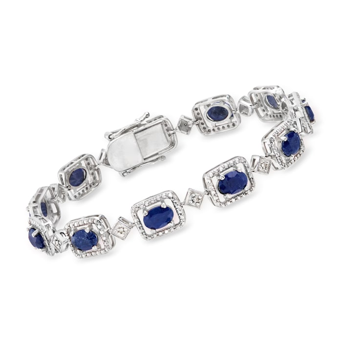 9.00 ct. t.w. Sapphire and .15 ct. t.w. Diamond Bracelet in Sterling Silver