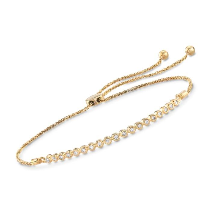 .33 ct. t.w. Bezel-Set Diamond Bolo Bracelet in 18kt Gold Over Sterling