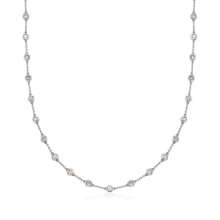 3.00 ct. t.w. Bezel-Set Diamond Station Necklace in 14kt White Gold