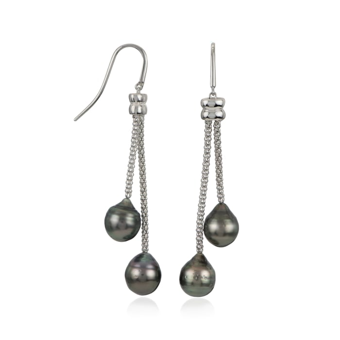 8-9mm Black Cultured Tahitian Drop Earrings in Sterling Silver
