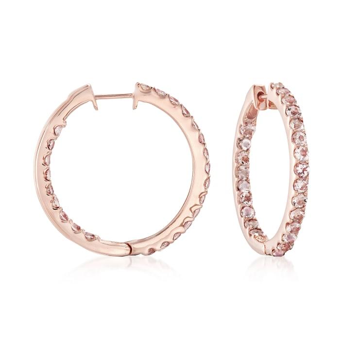 2.80 ct. t.w. Morganite Inside-Outside Hoop Earrings in 18kt Rose Gold Over Sterling