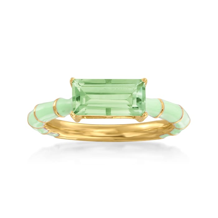 1.70 Carat Prasiolite Ring with Green Enamel in 18kt Gold Over Sterling