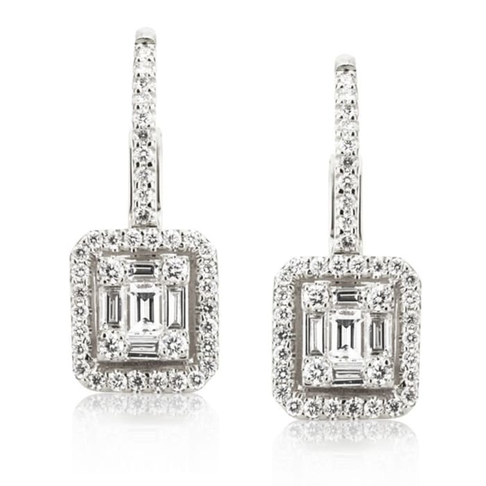 .86 ct. t.w. Baguette and Round Diamond Drop Earrings in 18kt White Gold