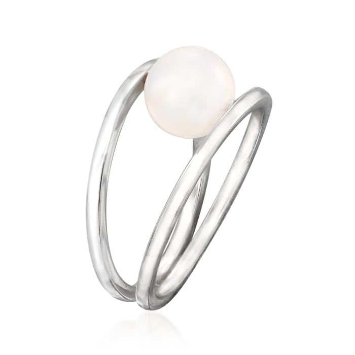 8mm Cultured Pearl Double Open-Circle Ring in Sterling Silver
