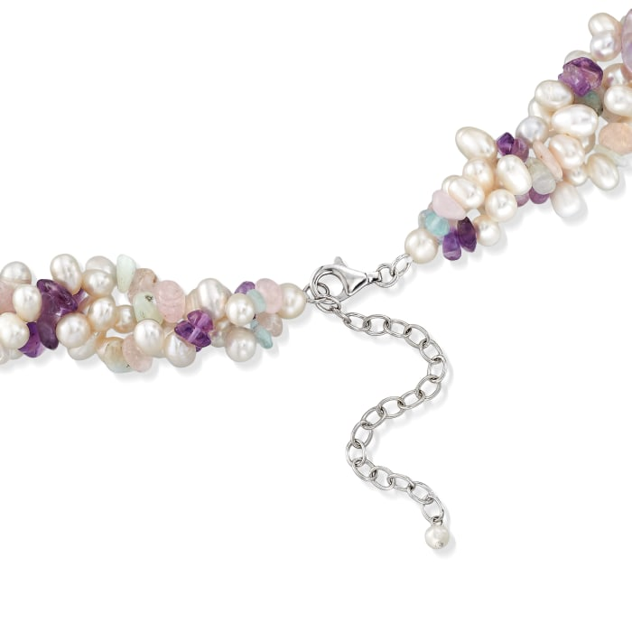 4-6.5mm Cultured Pearl and Multi-Stone Torsade Necklace with Sterling Silver