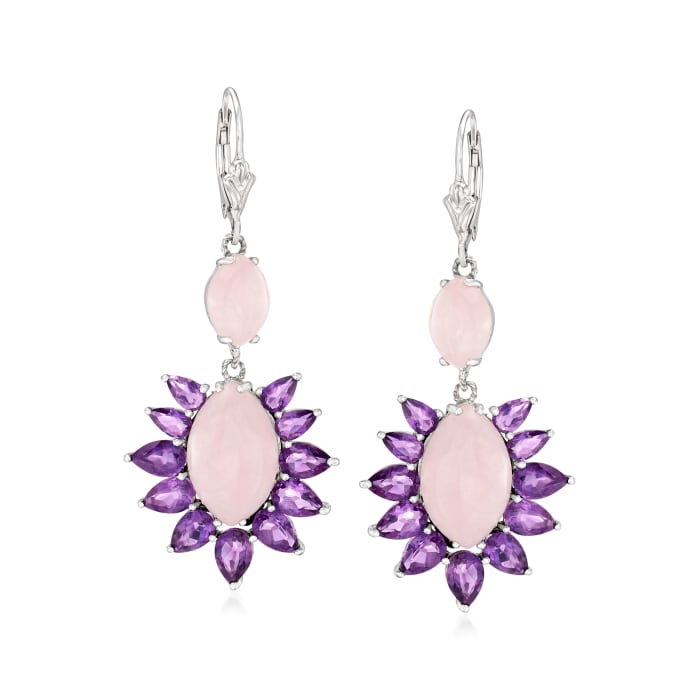 13.60 ct. t.w. Rose Quartz and 5.80 ct. t.w. Amethyst Drop Earrings in Sterling Silver