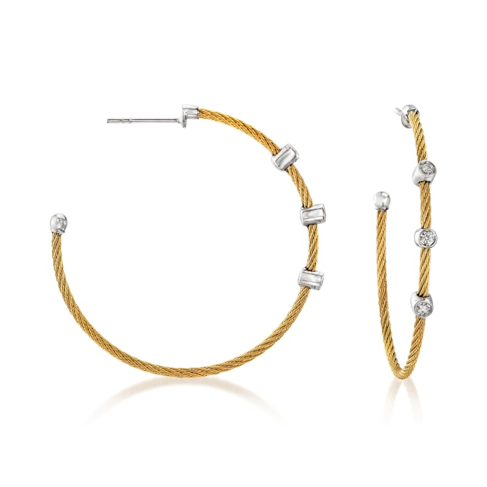 "ALOR ""Classique"" .12 ct. t.w. Diamond Yellow Stainless Steel Cable Hoop Earrings with 18kt White Gold"