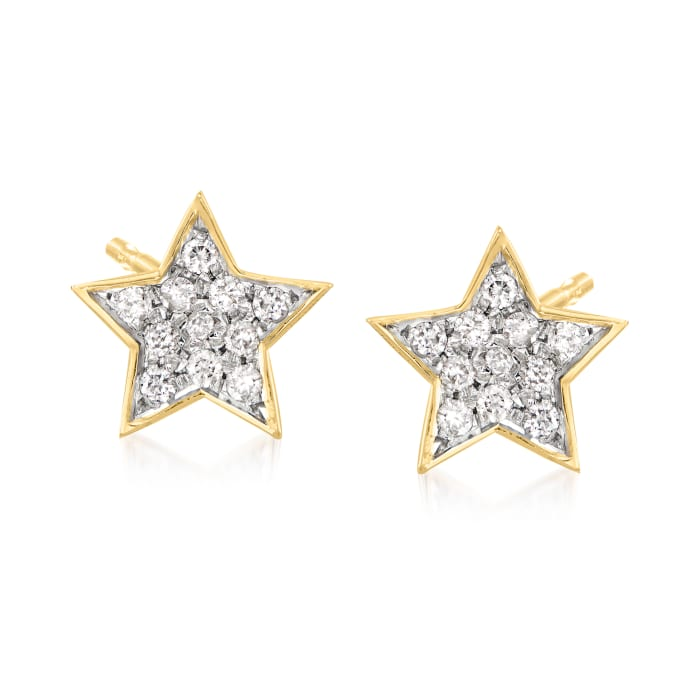 .20 ct. t.w. Diamond Star Stud Earrings in 18kt Gold Over Sterling