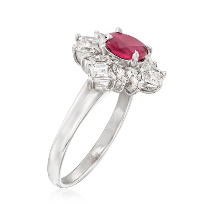 C. 1990 Vintage 1.21 Carat Ruby and .92 ct. t.w. Diamond Ring in Platinum