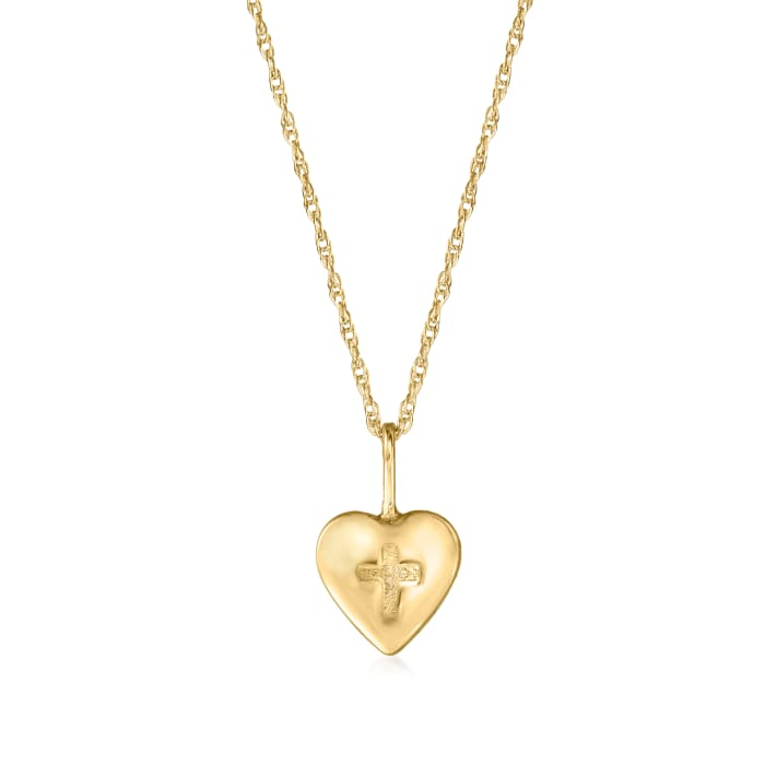 Child's 14kt Yellow Gold Heart and Cross Pendant Necklace