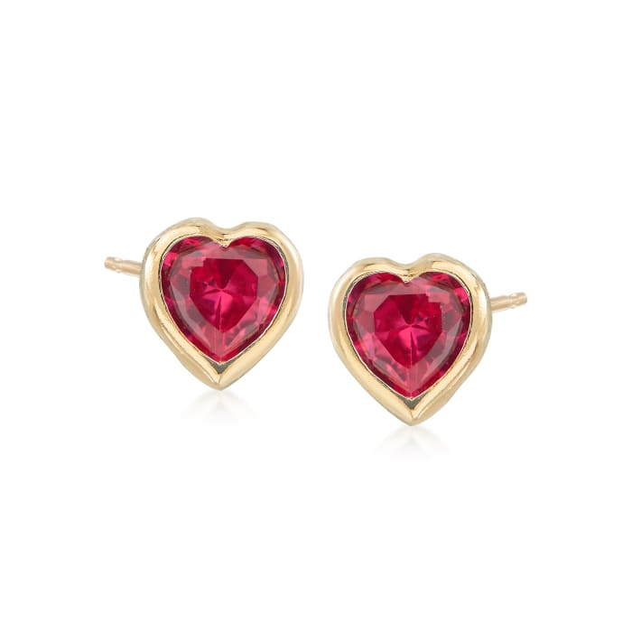 Child's Simulated Ruby Heart Stud Earrings in 14kt Yellow Gold