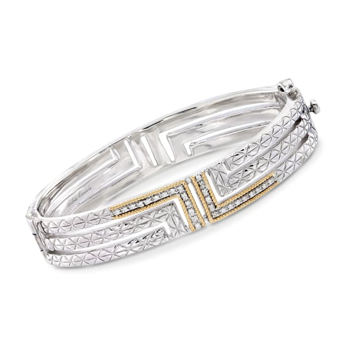 """Andrea Candela """"Laberinto"""" .15 ct. t.w. Diamond Bangle Bracelet in 18kt Gold and Sterling Silver"""