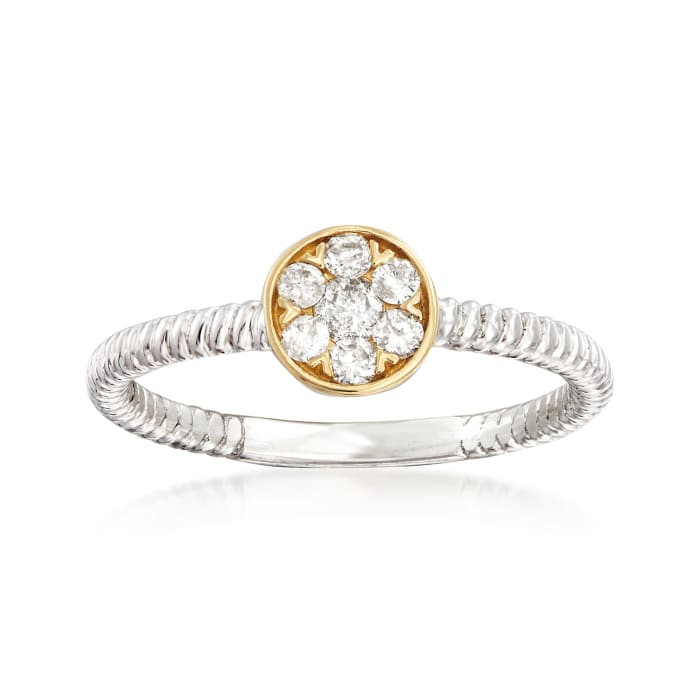 .25 ct. t.w. Diamond Cluster Ring in Sterling Silver and 14kt Yellow Gold