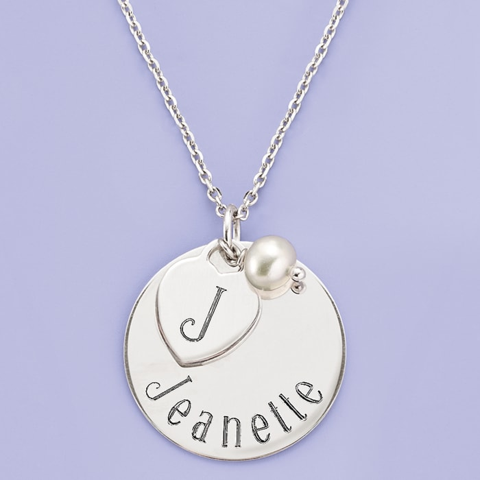 Italian Sterling Silver Personalized Charm Necklace with 6mm Cultured Pearl