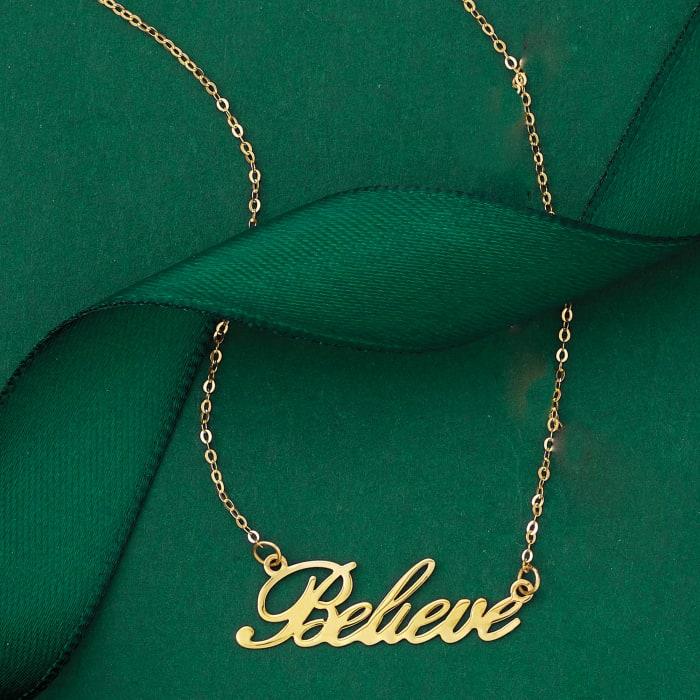 "Italian 14kt Yellow Gold ""Believe"" Necklace"