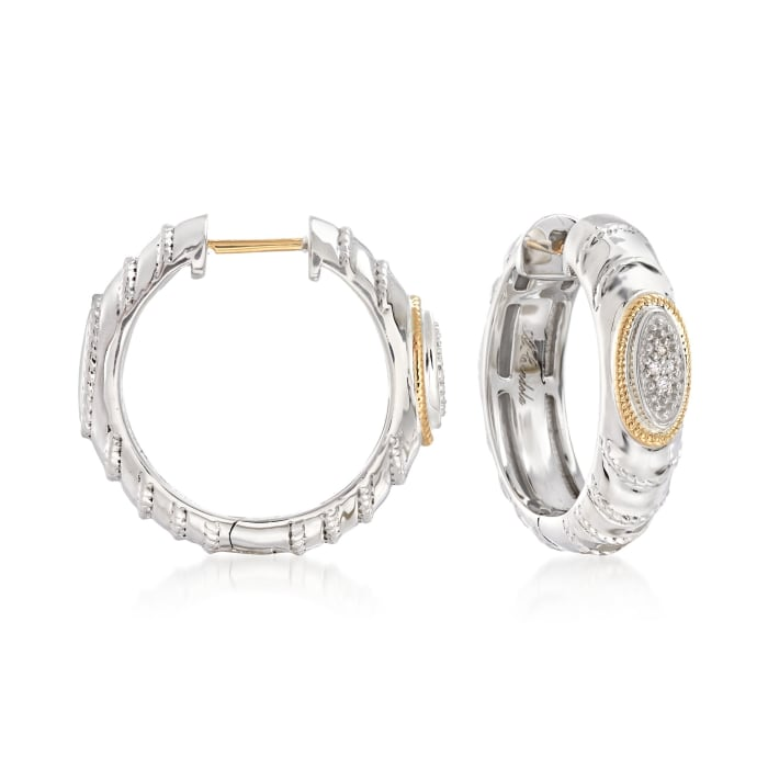 "Andrea Candela ""Eco"" Sterling Silver and 18kt Yellow Gold Hoop Earrings with Diamond Accents"