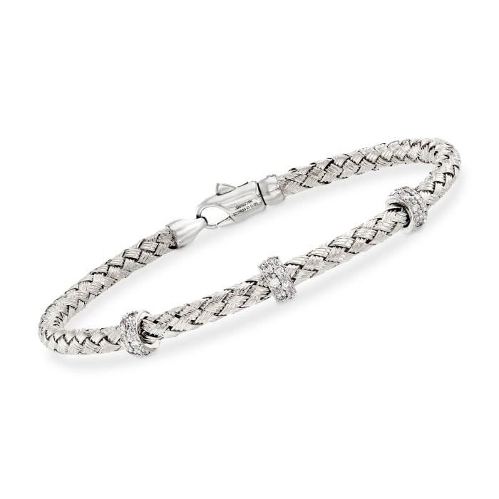 Simon G. .32 ct. t.w. Diamond Three-Station Woven Bangle Bracelet in 18kt White Gold