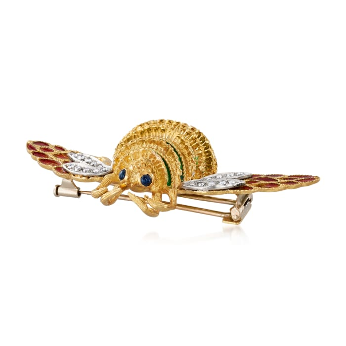 C. 1980 Vintage Piero Milano .35 ct. t.w. Diamond and .10 ct. t.w. Sapphire Bee Pin with Green and Red Enamel in 18kt Yellow Gold