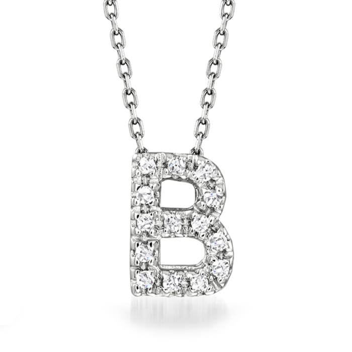 Diamond-Accented Initial Necklace in 14kt White Gold 16-inch  (B)