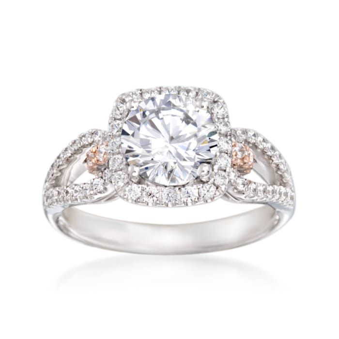 Simon G. .47 ct. t.w. Pink and White Diamond Engagement Ring Setting in 18kt Two-Tone Gold
