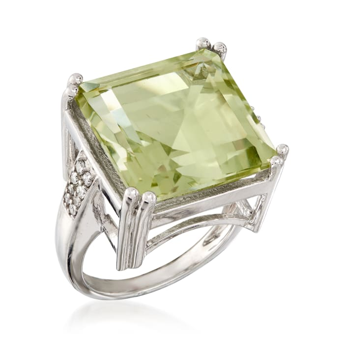 16.00 Carat Prasiolite and .19 ct. t.w. Diamond Ring in Sterling Silver