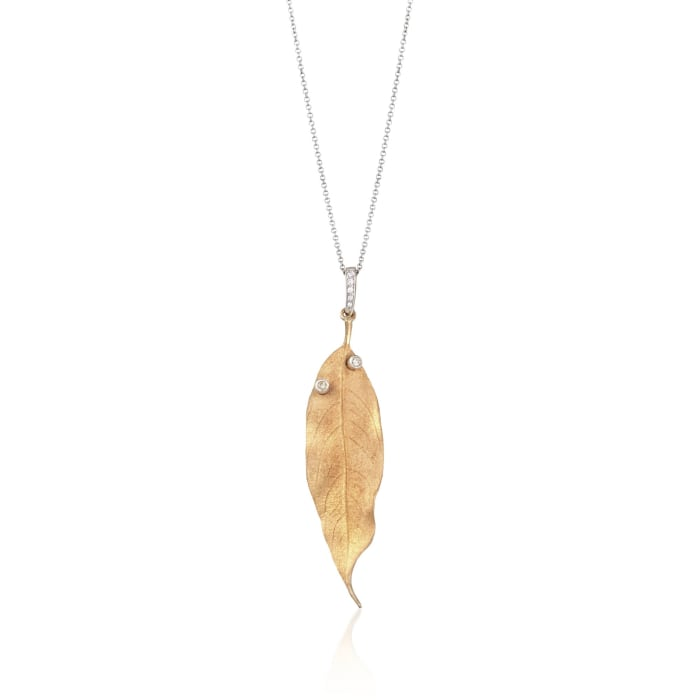 Simon G. 18kt Two-Tone Gold Leaf Pendant Necklace with Diamond Accents