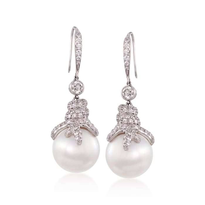 14.5mm Cultured South Sea Pearl and 2.16 ct. t.w. Diamond Earrings in 18kt White Gold