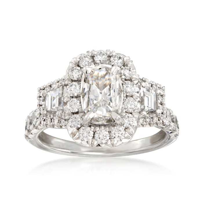 Henri Daussi 2.10 ct. t.w. Certified Diamond Engagement Ring in 18kt White Gold